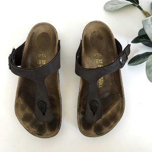 Brown Birkenstock Thong Sandals Cork Soles